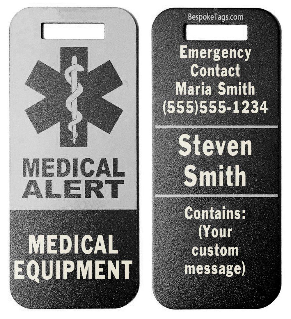 Medical Alert Tag Medical Equipment - Customized Engraved Info (Black)