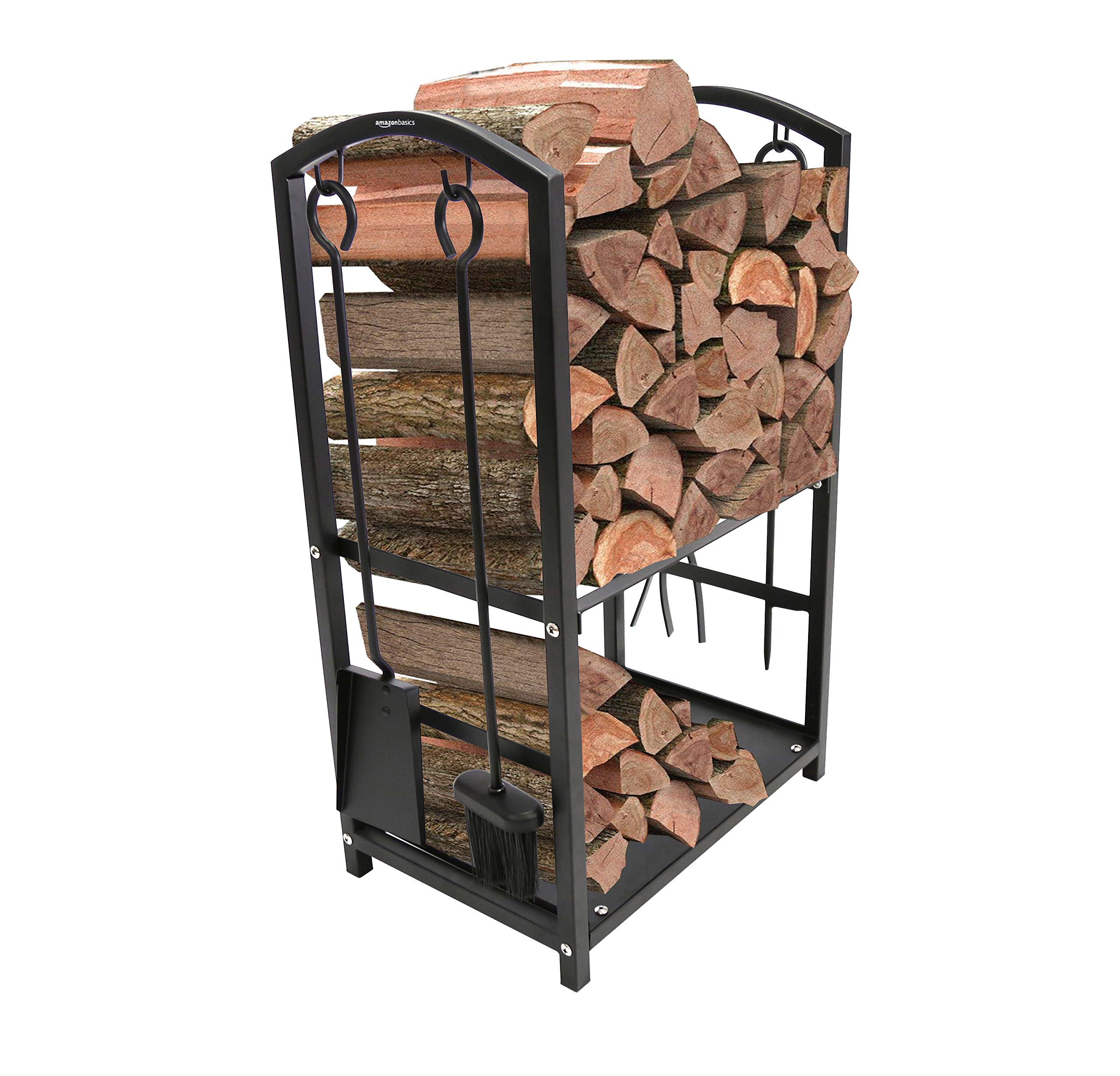 AmazonBasics Outdoor Indoor Log Rack with Fireplace Accessories by AmazonBasics
