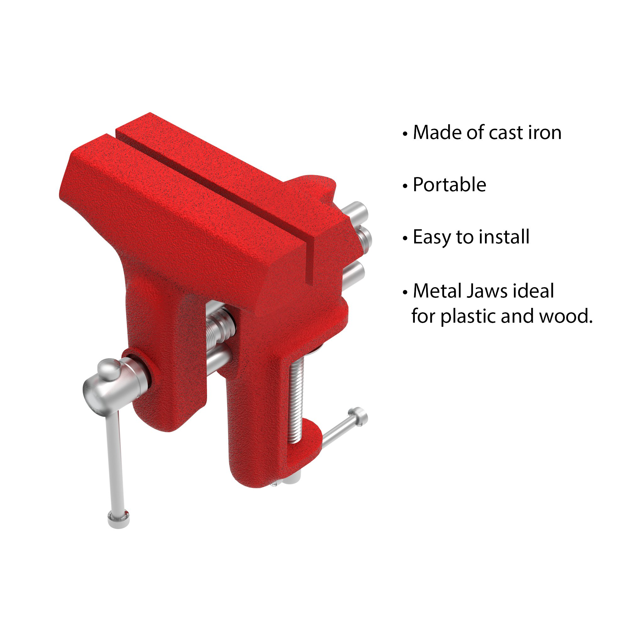 """Stalwart Clamp On Vise with 3 Inch """"V"""" Jaw for Table and Bench- Cast Iron Workbench Clamping Tool for Precision, DIY, Small Repairs and More by Stalwart (Image #5)"""
