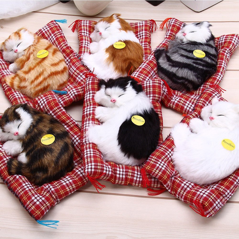 Toonol Lovely Simulation Animal Doll Plush Sleeping Cats with Sound Perfect Birthday Gift Doll Decorations Toy Color Black