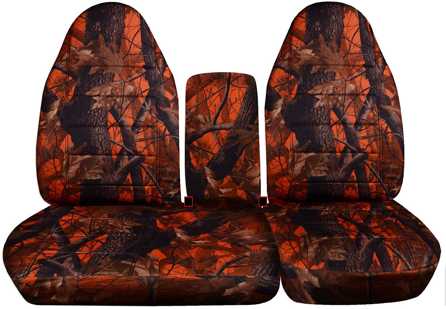 16 Prints Totally Covers Fits 1997-2000 Ford F-150 Camo Truck Seat Covers Front 40//60 Split Bench with Opening Center Console//Solid Armrest: Gray Camouflage 1998 1999 F-Series F150