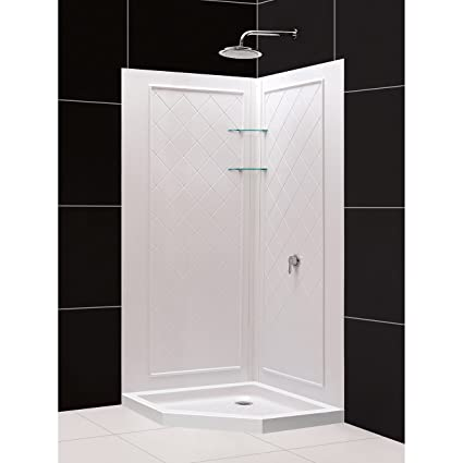 32 Inch Neo Angle Shower Base.Dreamline 36 In X 36 In X 76 3 4 In H Neo Angle Shower Base And Qwall 4 Acrylic Corner Backwall Kit In White Dl 6044c 01