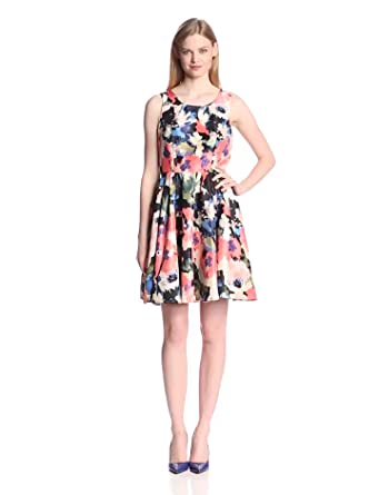 Gabby Skye Women's Sleeveless Floral Print Fit and Flare
