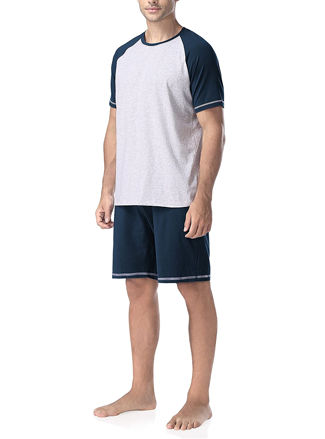 David Archy Men's Cotton Raglan Short Sleeve Top and Bottoms Pajama Sets CN-Smashing