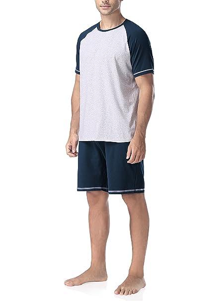 Genuwin Hombre Pijama de Verano 2 Piezas Conjunto de Pijama de Algodón Peinado para Hombre,