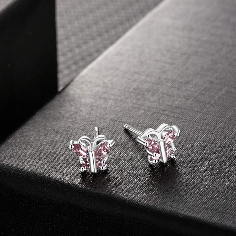 Buyless Fashion Surgical Steel Rhodium Plated Cubic Zirconia Birthstone Earrings