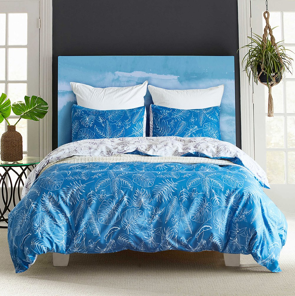 Fire Kirin Duvet Cover Sets with Zipper Closure-Blue/White Coconut Leaves Pattern Bedding Comforter Cover Sets,3 Piece (1 Duvet Cover + 2 Pillow Shams) Ultra Soft Hypoallergenic Microfiber (King) SC002-coconut leaves-king