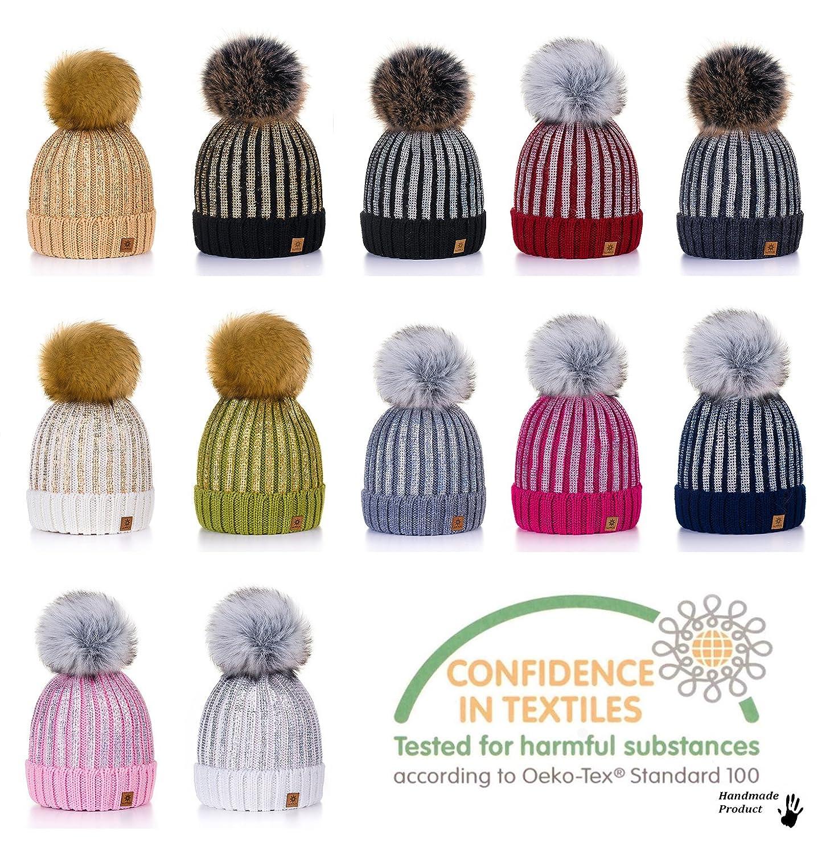 26e710512db 4sold Womens Girls Winter Hat Knitted Beanie Large Pom Pom Cap Ski  Snowboard Hats Bobble Gold