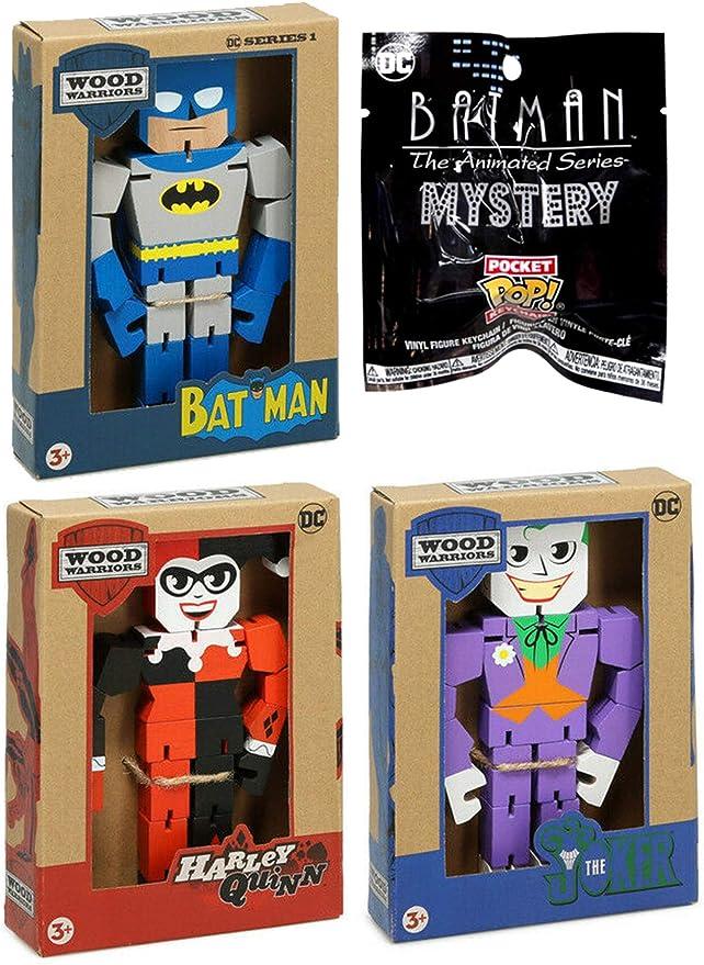 Funko BatSeries Animated {Batman} Mystery Pocket Pop! Colgador de Llavero con Figura de Batman clásica + el Joker y Harley Quinn Warriors DC Comics, Paquete de 4: Amazon.es: Juguetes y juegos