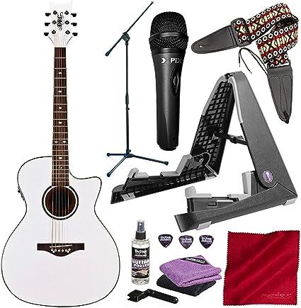 Daisy Rock DR6274-U - Guitarra acústica y eléctrica con micrófono de condensador vocal, soporte para guitarra y micrófono, color blanco: Amazon.es: Instrumentos musicales