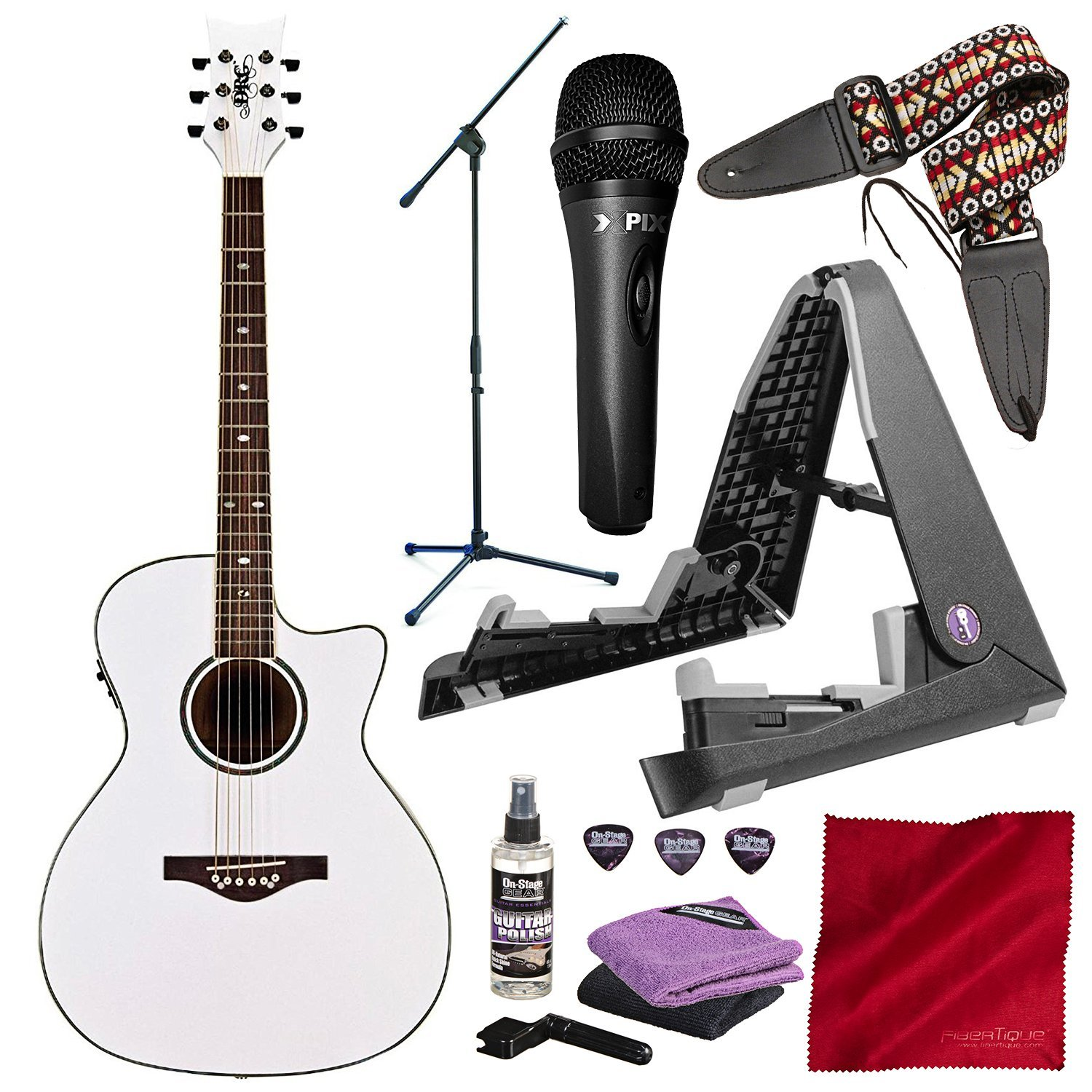 Daisy Rock Wildwood Acoustic/Electric Guitar Pearl White (DR6274-U) with Xpix Vocal Condenser Microphone, Guitar & Mic Stand Deluxe Bundle by Daisy Rock - Photo Savings