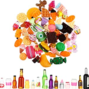 100 Pieces Miniature Food Drink Bottles Include 50 Pieces Dollhouse Drink Bottle Miniature Food Bottle and 50 Pieces Pretend Play Food Tiny Food Dessert Pastry Toy for Dollhouse Pretend Kitchen