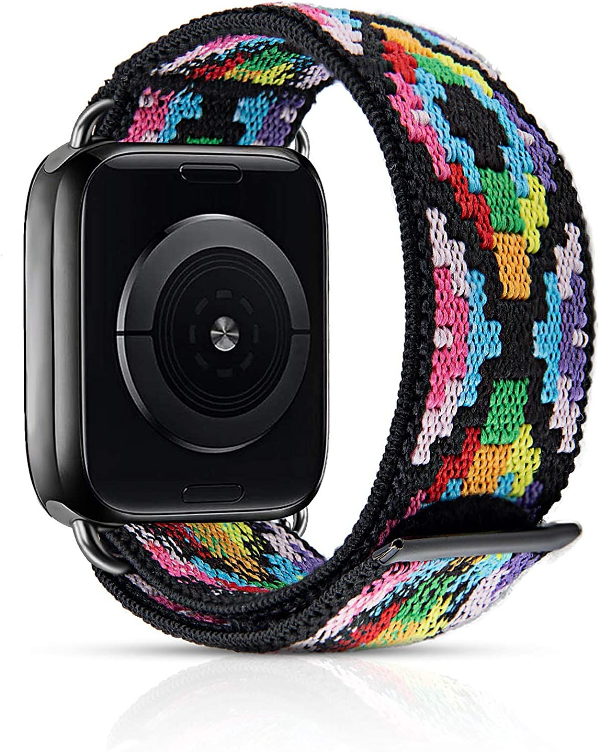 MEULOT Stretchy Braided Watch Band Compatible with Apple Watch Band Series 4 3 SE 6 5 2 1, Adjustable Elastic Soft Watch Band for iWatch 38mm 40mm 42mm 44mm
