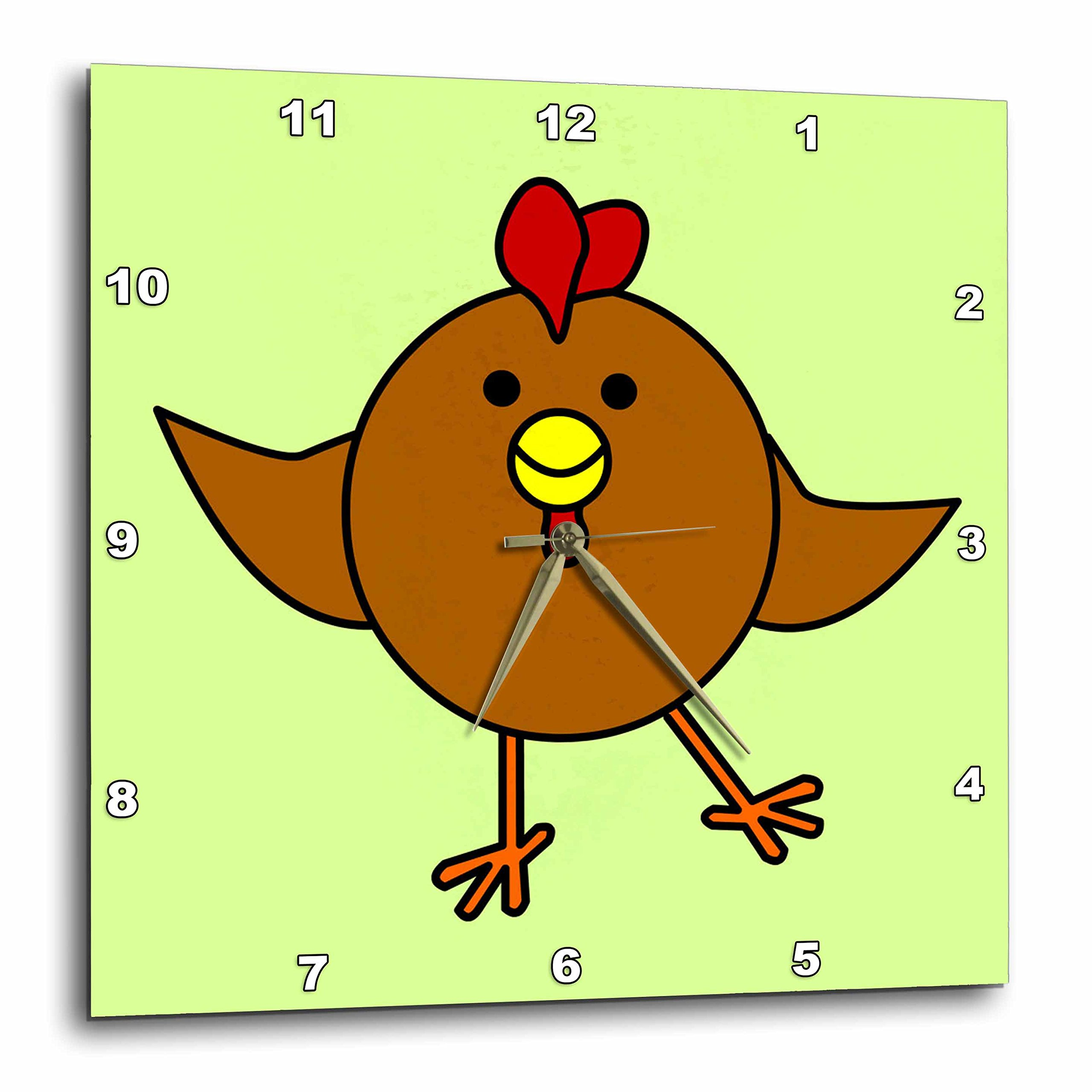 3dRose dpp_10793_3 Cute Brown Chicken Dance with Green Background Wall Clock, 15 by 15''