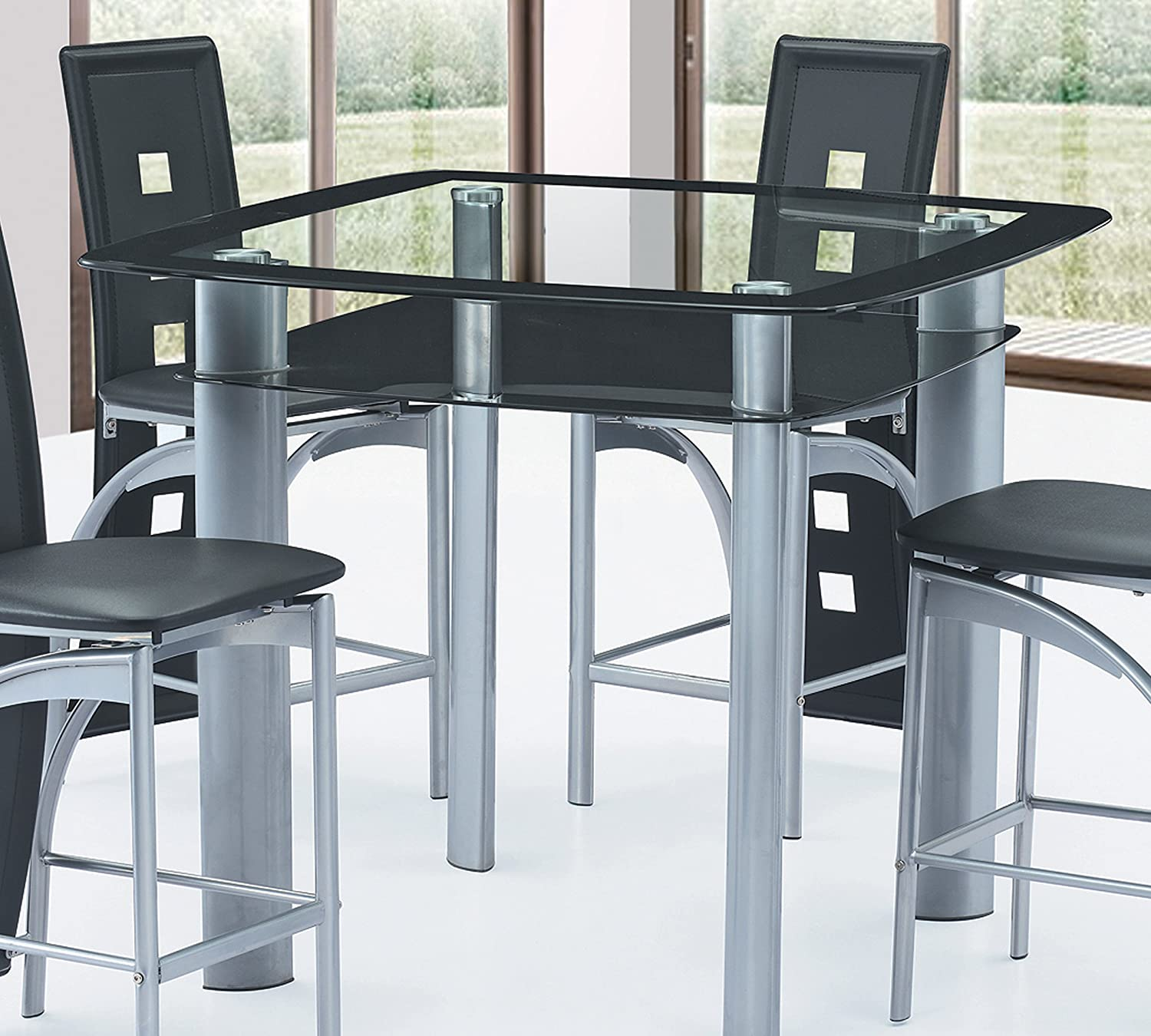 Amazon com best quality furniture d251t modern black and grey glass counter height dining table only tables
