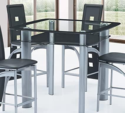 Best Quality Furniture D251T Dining Table Modern Black And Grey Glass  Counter Height
