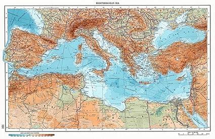 Amazon.com: Historic Map | 101. Mediterranean Sea. The World Atlas ...