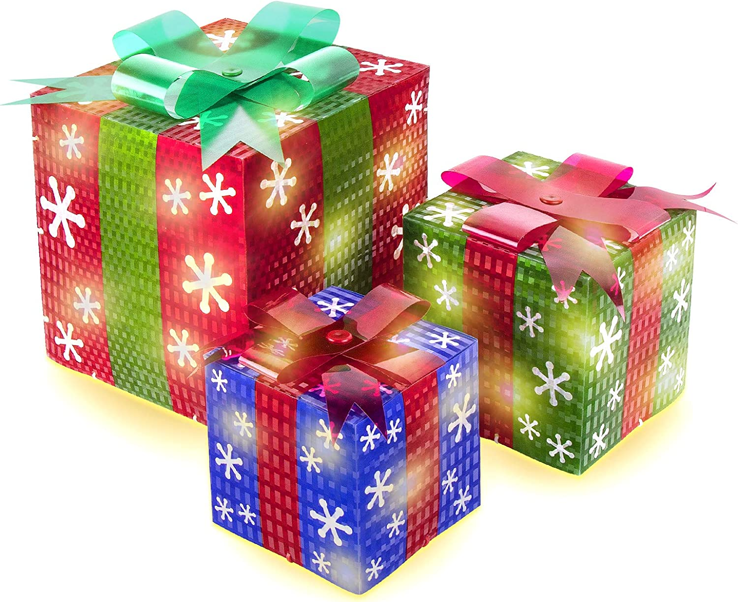 AmnoAmno Christmas Lighted Gift Boxes Set of 3 Presents Boxes Decorative Outdoor Xmas Indoor Home Decoration Snowflake Red Green Blue Light Up Boxes Lawn Yard Decor