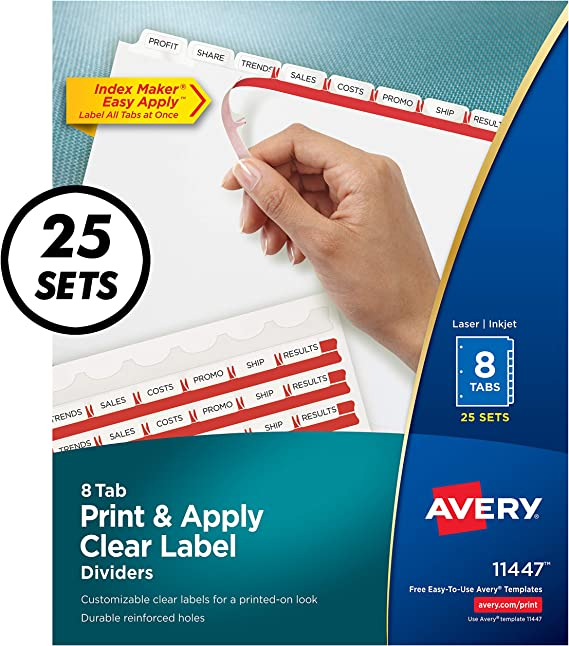 Amazon. Com: avery 8-tab binder dividers, easy print & apply clear.