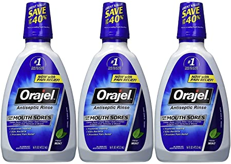 Orajel Antiseptic Mouth Sore Rinse, 16 Ounce Pack of 3