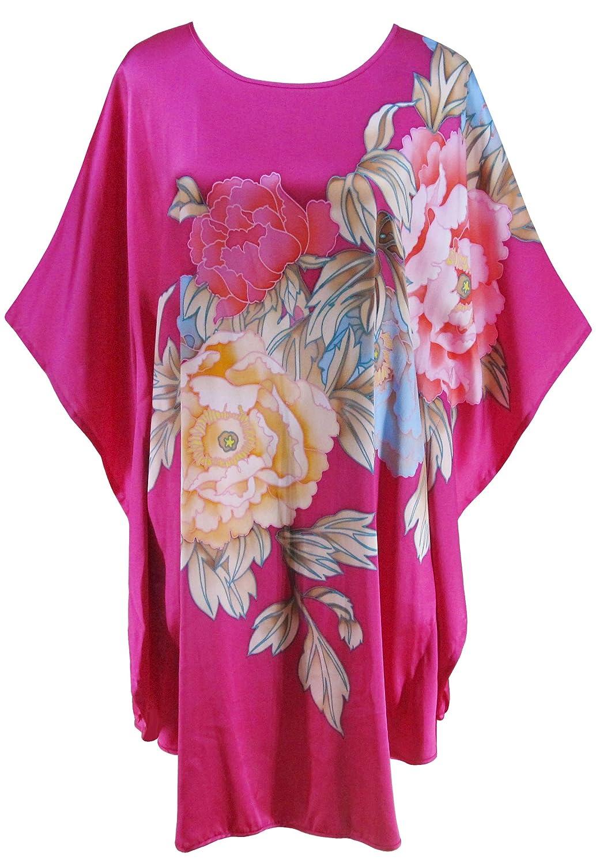 Bright Red Ledamon Women's 100% Silk Short Robe Nightgowns Batwing Sleeved Nightwear Sleepwear Pajama Classic Handpainted