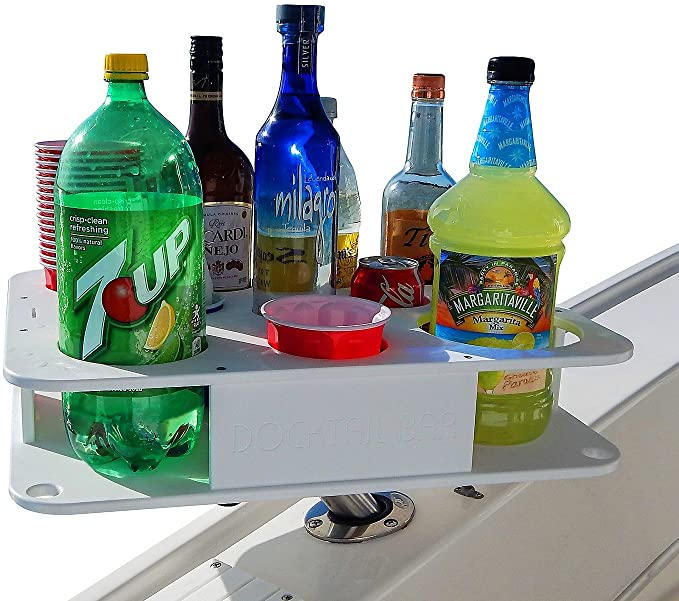Docktail Boat Bar & Ultimate Marine Cup & Bottle Holder - This Boating Accessory Includes Rod Holder Mount - Holds Handles and All 20 and 30 Oz Tumblers - 12 oz Cans and Bottles - Starboard best boating accessories