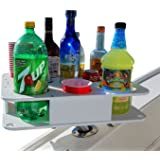 Docktail Boat Bar & Ultimate Marine Cup & Bottle Holder - This Boating Accessory Includes Rod Holder Mount - Holds Handles and All 20 and 30 Oz Tumblers - 12 oz Cans and Bottles - Starboard