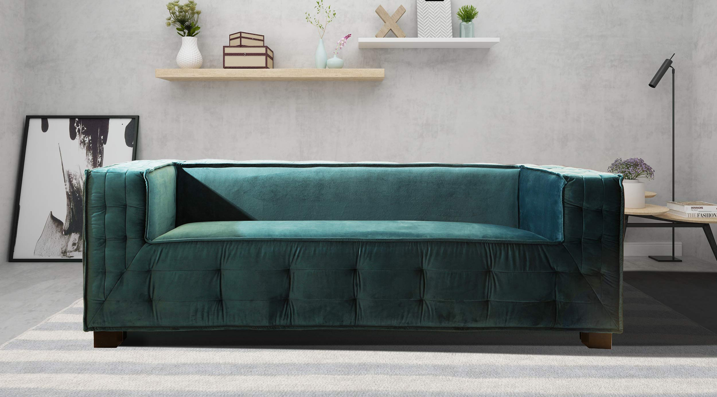 Iconic Home Bryant Sofa Velvet Upholstered Tufted Wide Armrest Tight Back Shelter Arm Design Espresso Finished Wooden Legs Modern Contemporary, BLUE by Iconic Home