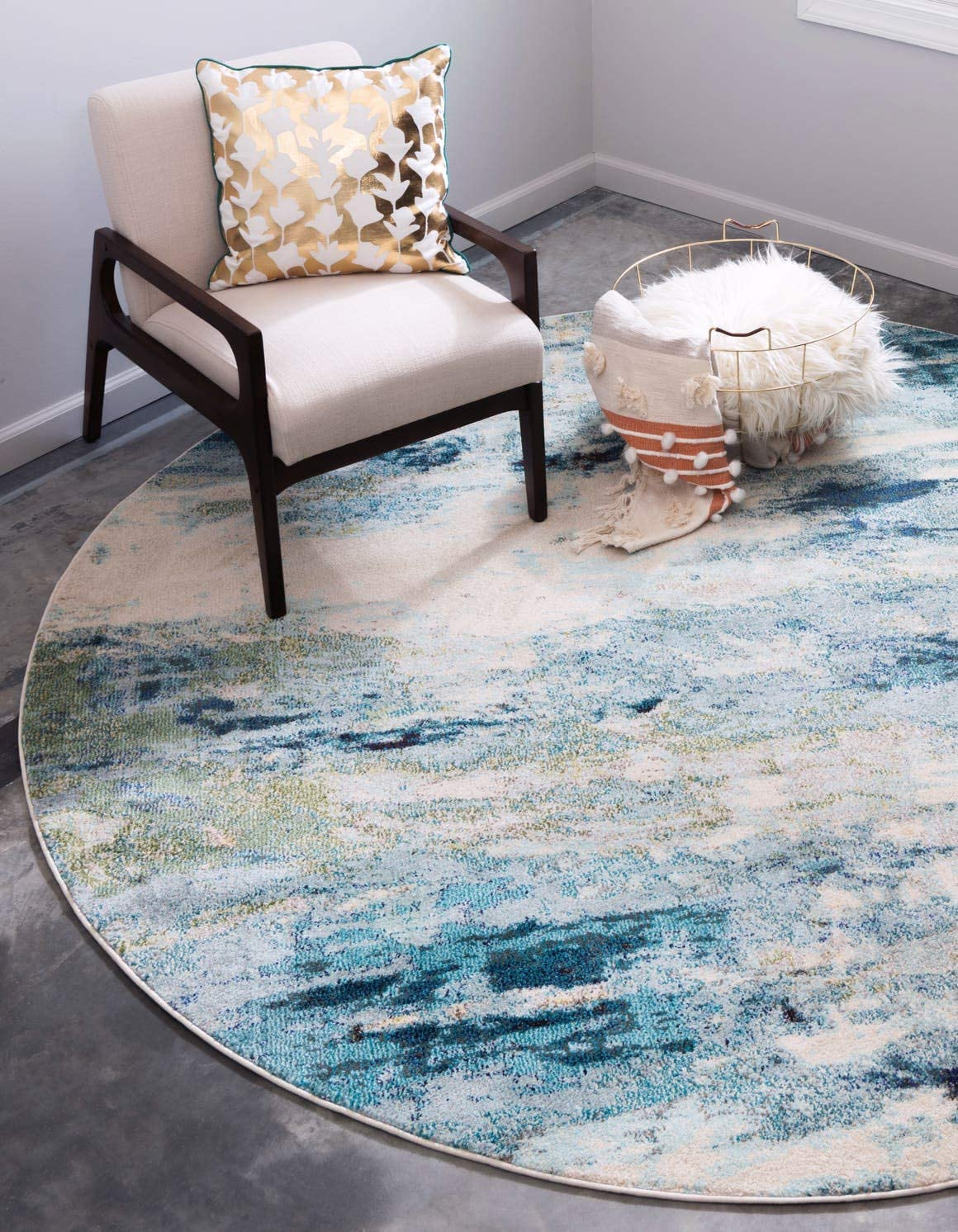 Unique Loom Chromatic Collection Abstract Modern Light Blue Round Rug 4 0 x 4 0