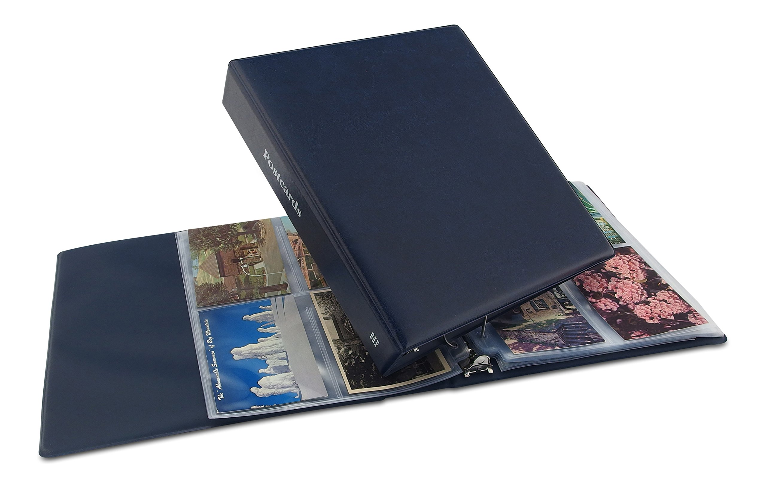 Hobbymaster Postcard Album, Trim''Classic'' Style (Blue) holds your post card collection, expandable
