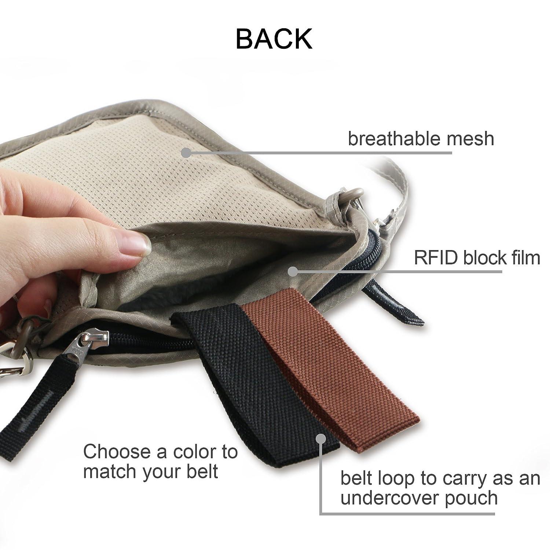 travel inspira Col de Pouch-Wallet Money de ceinture pour passeport Pochette tour pour porter et cacher des objets de valeur TINW01BG