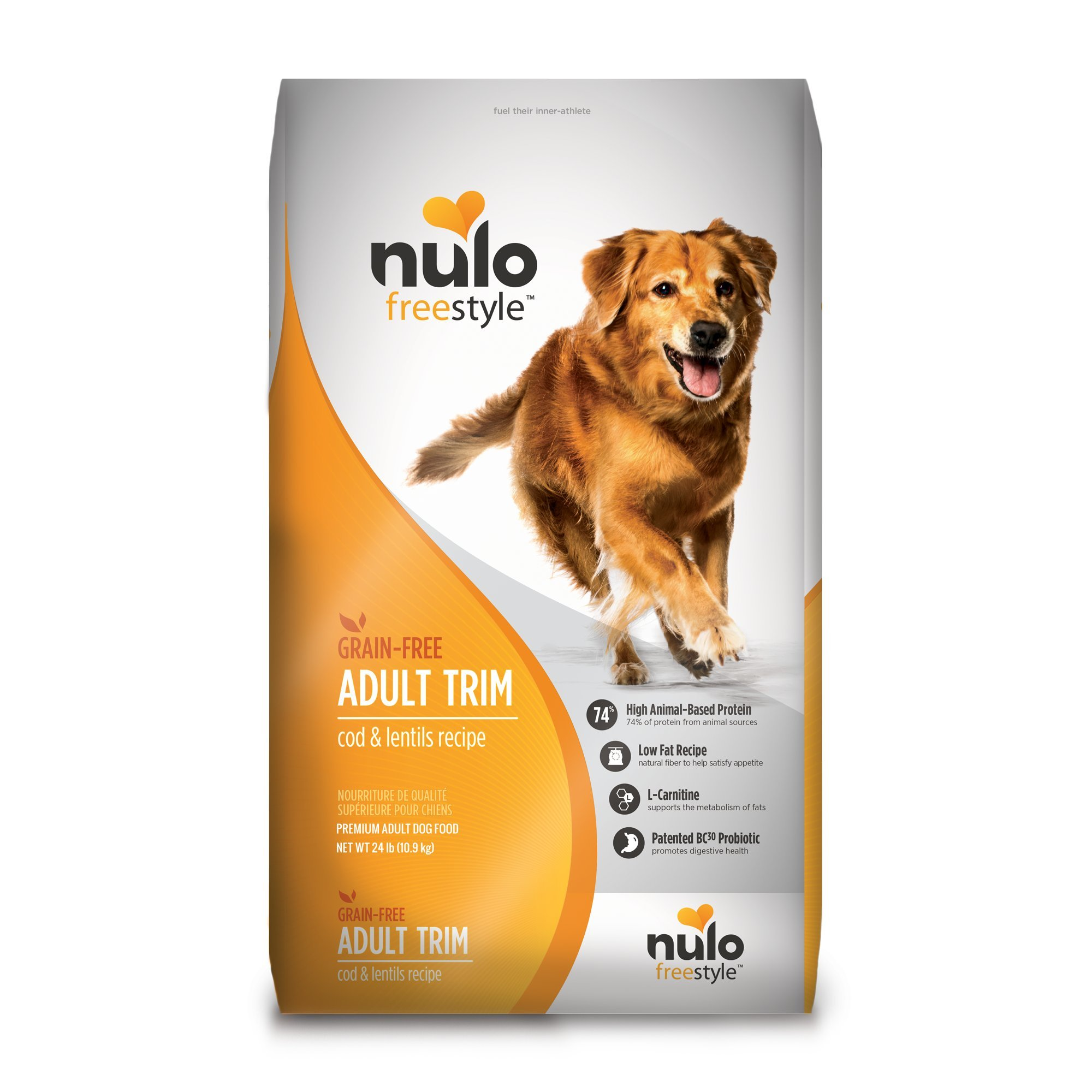 Nulo Adult Trim Grain Free Healthy Weight Dry Dog Food With Bc30 Probiotic (Cod And Lentils Recipe, 24Lb Bag) by Nulo