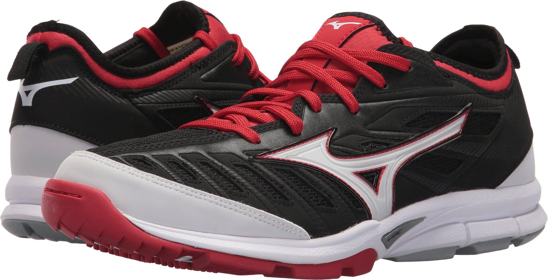Mizuno Men's Players Trainer 2 Turf Baseball-Shoes,Black/Red,13 D US