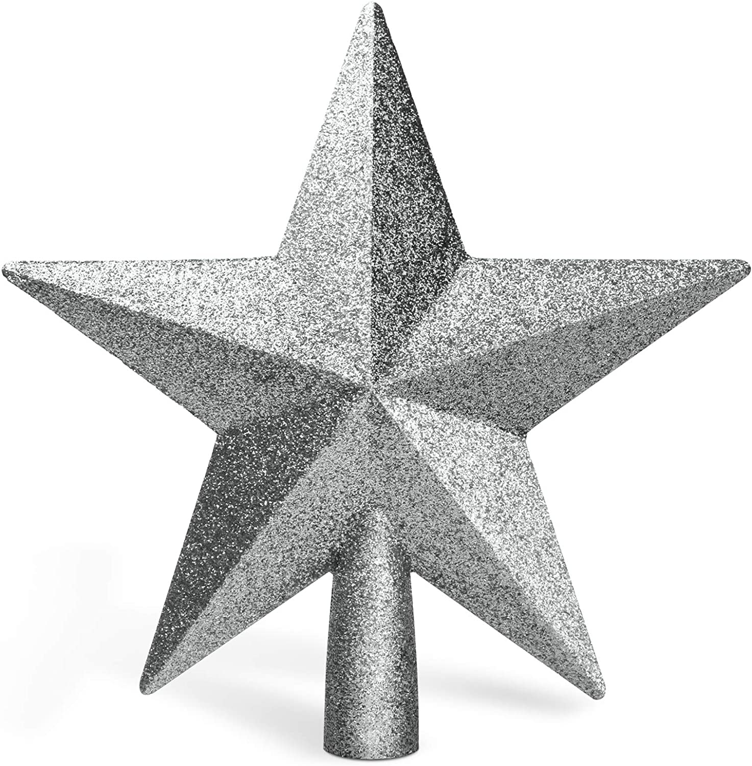 """Balhvit 8"""" Christmas Tree Topper Fit Most Trees, 3D Shatterproof Glitter Christmas Star Tree Topper, Festive Christmas Tree Decoration for Home Décor/Holiday Ornament(Silver)"""