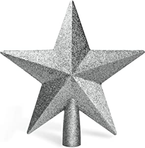 "Balhvit 8"" Christmas Tree Topper Fit Most Trees, 3D Shatterproof Glitter Christmas Star Tree Topper, Festive Christmas Tree Decoration for Home Décor/Holiday Ornament(Silver)"