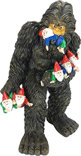 GlitZGlam Large Miniature Bigfoot and Gnomes for The Fairy Garden. A Large Garden Gnome Figurine 13 inch High and a Fairy Garden Accessory
