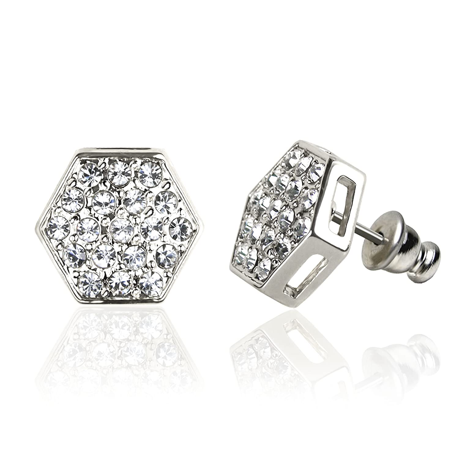 Forever Silver Austrian Crystal Hexagon Earrings Surgical Steel Posts & Comfort Backs E152S