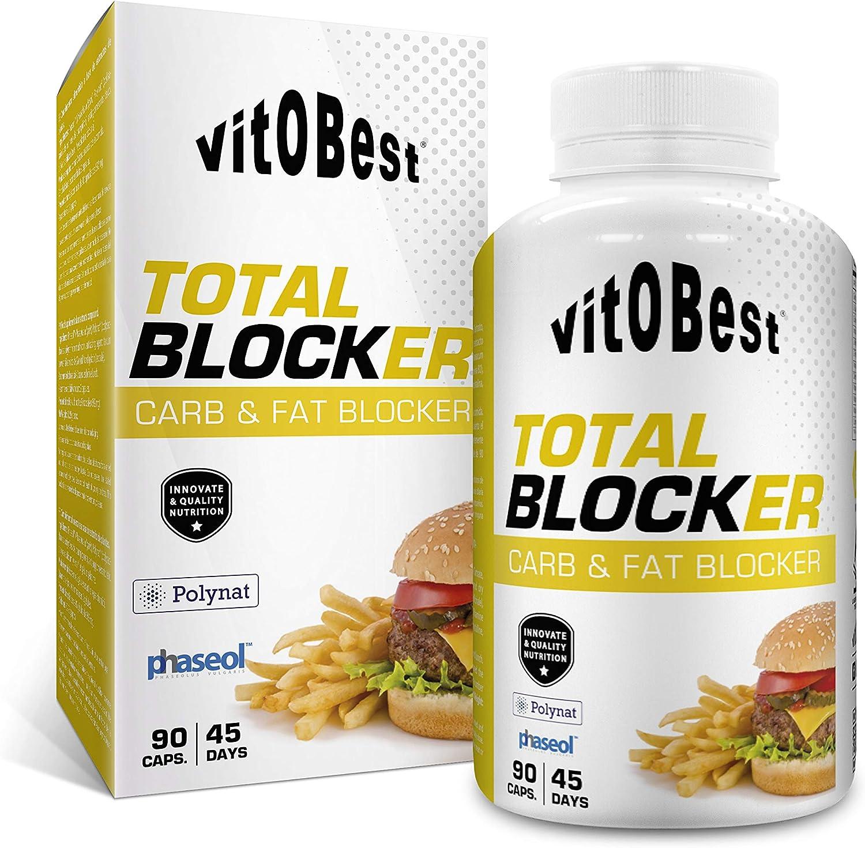 Bloqueador de Grasas y Carbohidratos TOTAL BLOCKER 90 Caps. - Producto de Calidad Optima y Quemagrasas Potente para Adelgazar - Vitobest