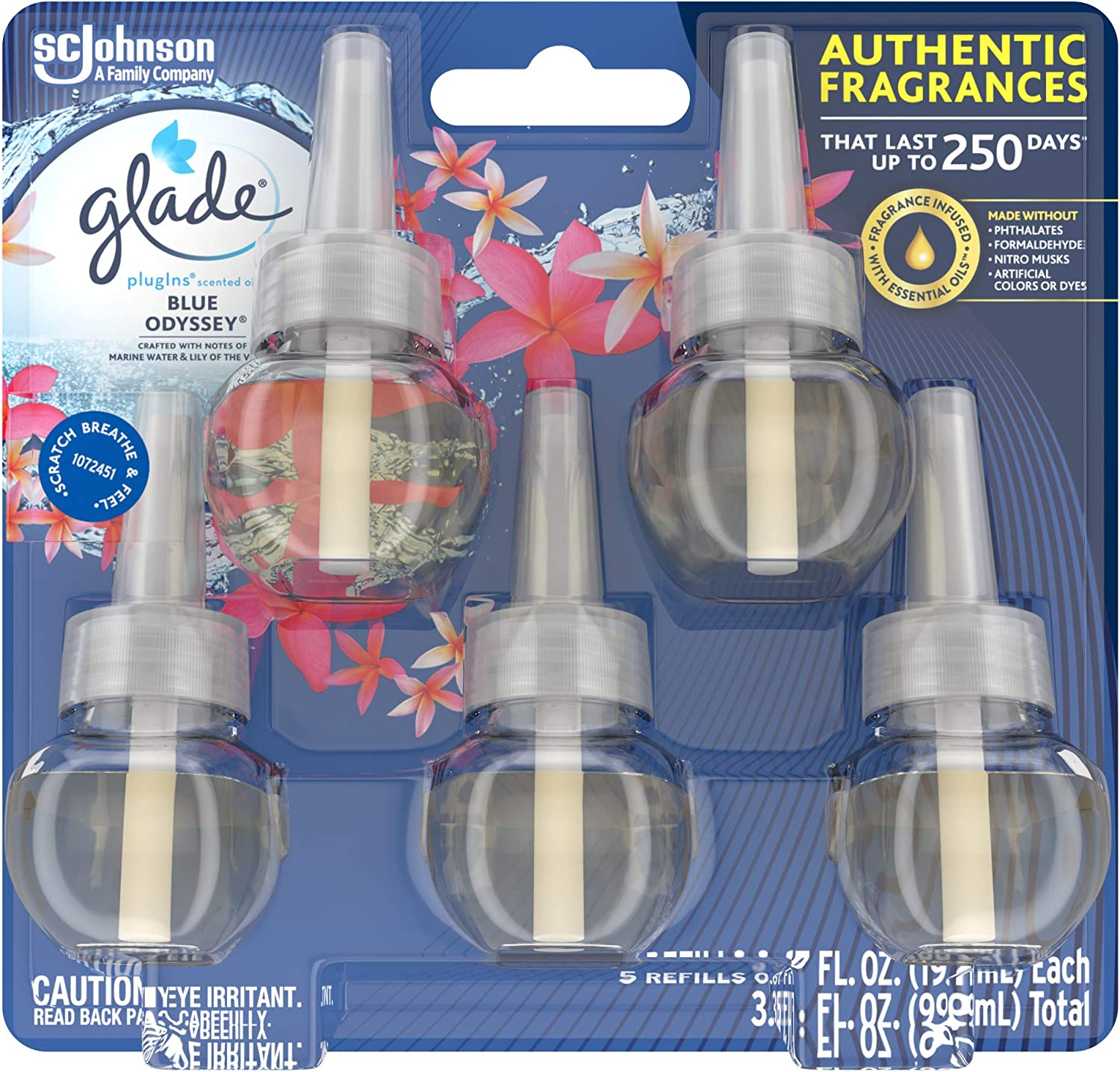 Glade PlugIns Refills Air Freshener, Scented and Essential Oils for Home and Bathroom, Blue Odyssey, 3.35 Fl Oz, 5 Count