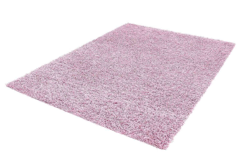 Flauschiger hochflor langflor shaggy kuschel teppich uni rosa baby pink einfarbige weiche fransenteppiche als brücken läufer bettumrandung oder rund mit