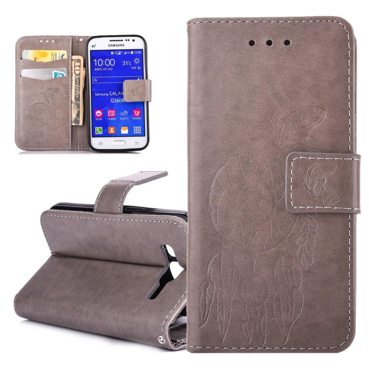 ISAKEN Custodia Cover per Samsung Galaxy Core Prime G360 Libro Wallet Flip Portafoglio Cover in PU Pelle Tinta Unita Custodia Rose Protezione Caso con Supporto di Stand/Carte Slot, Rose: Rossa FASNO015341
