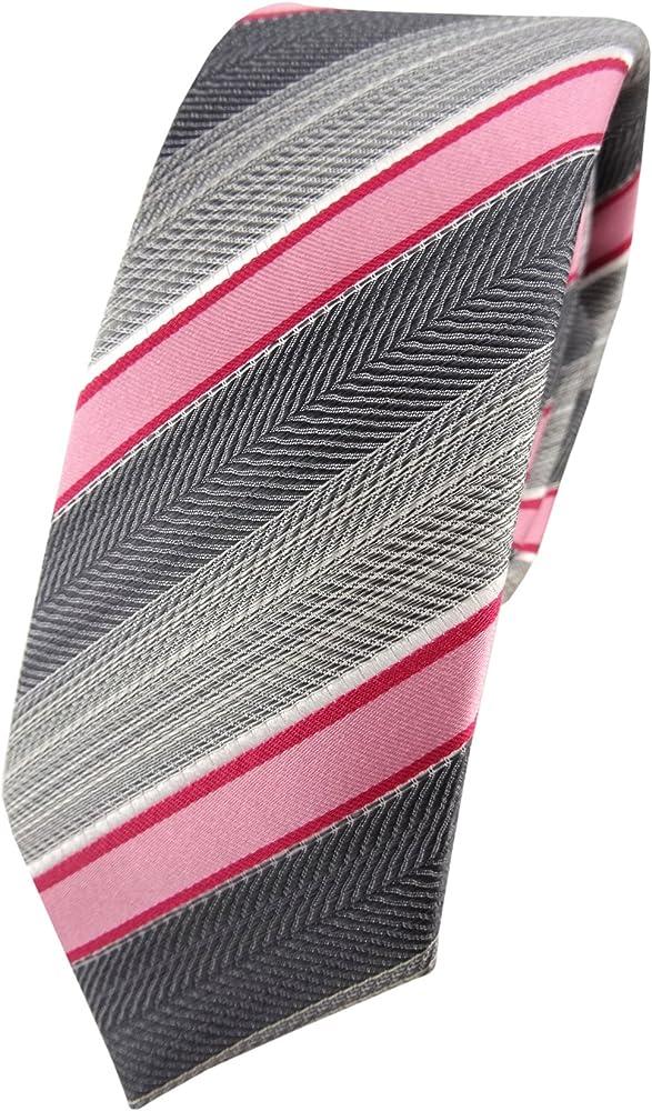 TigerTie - corbata de seda estrecha - rosa rojo gris plata ...