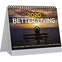 TINYCHANGE 2020 Better Living Desk Calendar with 12 Monthly Themes and 60 Tips for Happiness and Wellness; Small Flip Table Planner and Habit Tracker with Stickers and Box (24x18 cm)