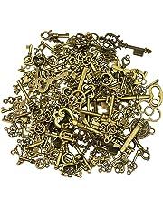 125 pièces antique bronze vintage squelette clé charmes bricolage collier pendentif pour la fabrication de bijoux faits à la main de mariage faveur et fête d'anniversaire