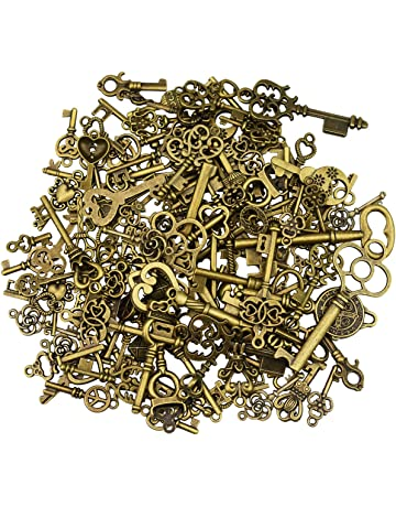 125 piezas de bronce antiguo esqueleto clave vintage diy collar colgante para hacer la joyería hecha