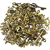 125Pcs Antique Bronze Vintage Skeleton Key Charms DIY Necklace Pendant for Handmade Jewelry Making Wedding Party Favor…