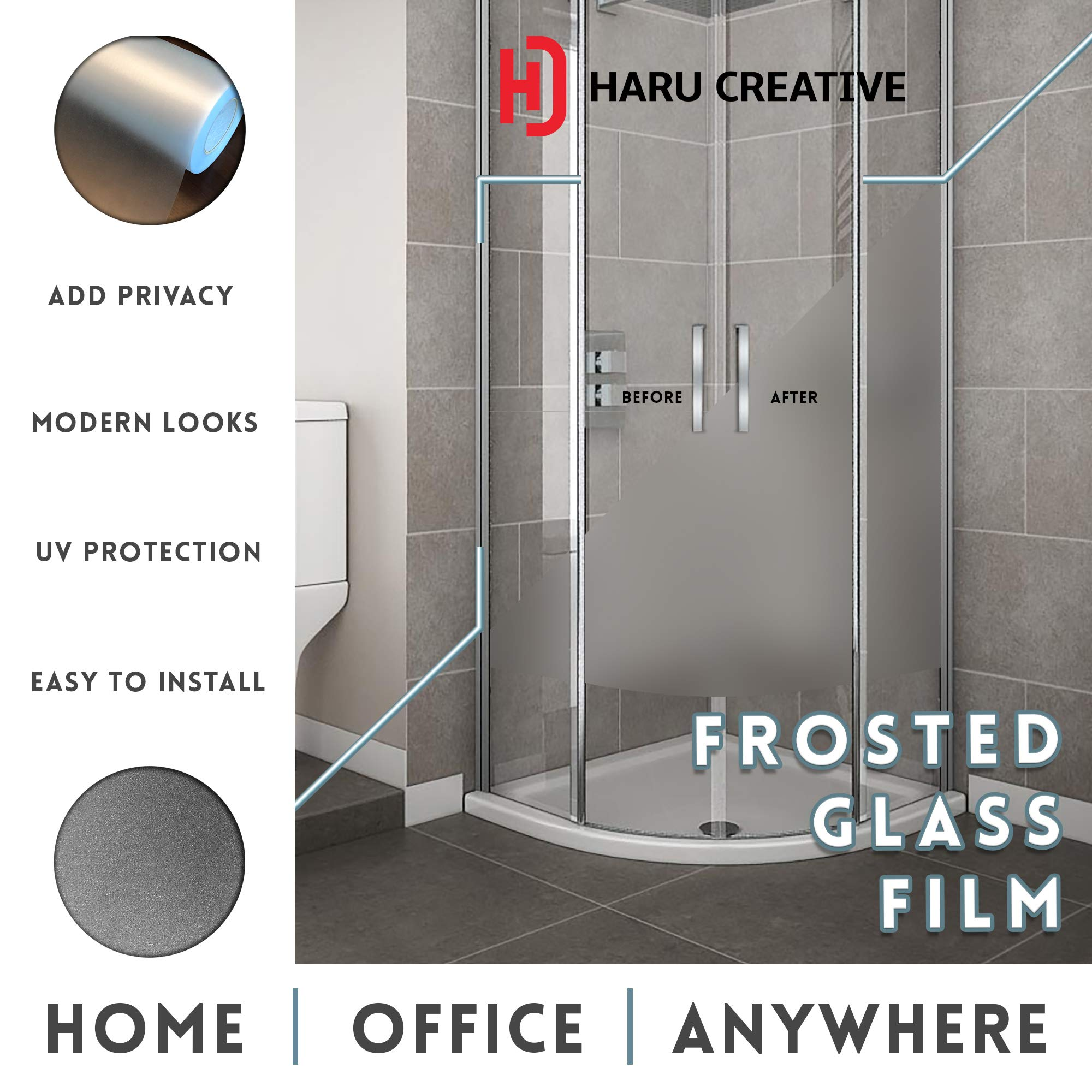 Haru Creative - Privacy Decorative Window Glass Frost Static Cling Adhesive Reusable Film Vinyl for Home Rooms Bathroom Work Space Office - Winter Frosted White Color (4FT x 10FT) by Haru (Image #6)
