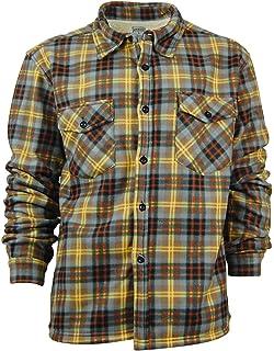 8bba37bb957 Sugar Cane Men s Sherpa Lined Shirt Jacket Twill Check Plaid Long ...