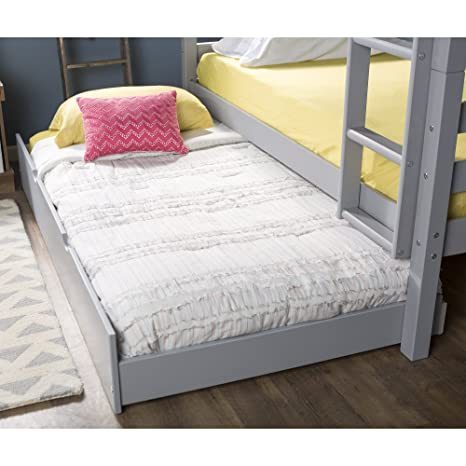 new concept fbc34 f6c4d WE Furniture Solid Wood Trundle Bed, Twin, Grey
