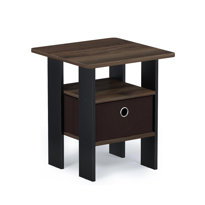 Furinno 11157CWN/DBR Andrey Bin Drawer End Table, 1-Pack, Walnut/Dark Brown